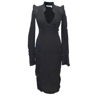 Yves Saint Laurent Black Silk Long Sleeved Dress