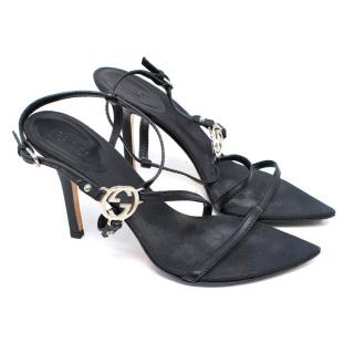 Gucci Black Strappy Heeled Sandals