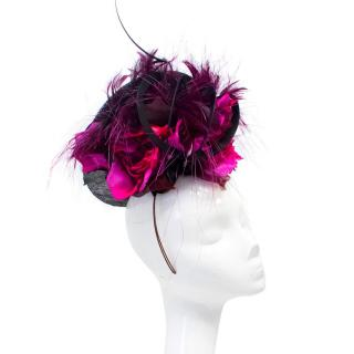 Philip Treacy Fascinator with Pink Roses and Feathers