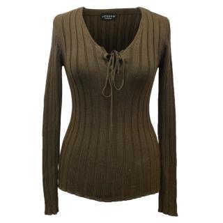 Joseph Olive Green Silk Sweater