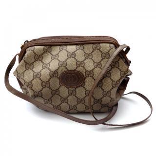 Gucci Vintage Brown Monogrammed Shoulder Bag .