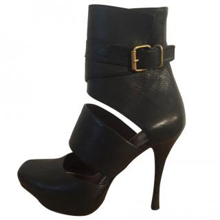 Lanvin Goldy black cut out leather platform ankle boots
