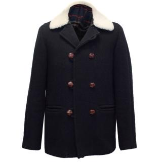 Sandro Men's Navy Blue Wool Coat