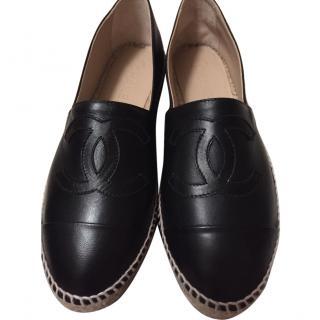 Chanel 2015 Black Lambskin Leather CC Espadrilles
