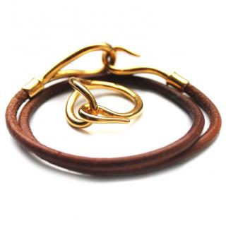 Hermes Gold Tone Jumbo Hook Scarf Ring and leather bracelet set