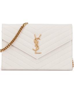 Saint Laurent White Chain Wallet