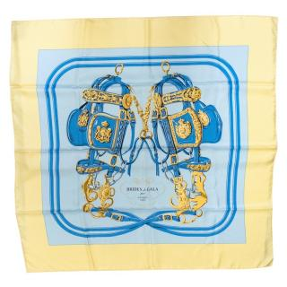 Hermes Light Blue and Yellow Printed Silk Scarf