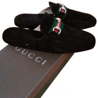 Gucci blue suede slippers