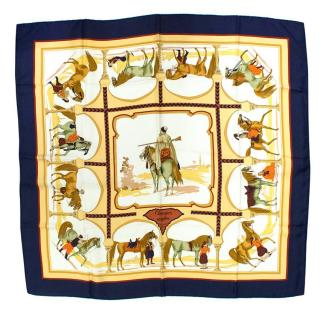 Hermes Navy and Beige Silk Scarf