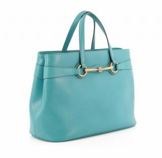 Gucci Turquoise blue Leather Bright Bit Medium Tote Bag