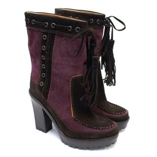 YSL Brown and Purple Suede Heeled Boots