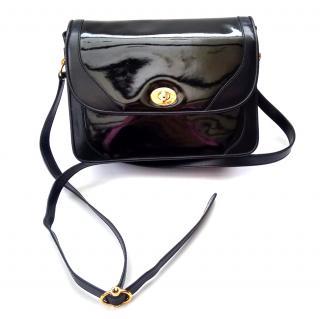 GUCCI Vintage Black Patent Leather Crossbody / Shoulder Bag.