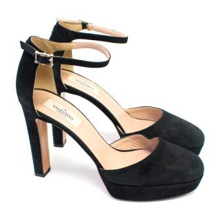 Valentino Black Suede Heeled Pumps with Ankle Strap