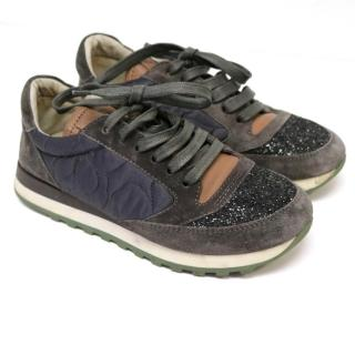 Brunello Cucinelli Grey Suede and Silk Trainers with Glitter