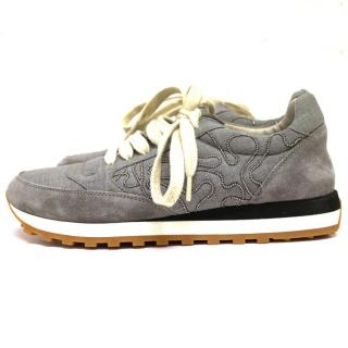 Brunello Cucinelli Grey Suede and Cotton Blend Trainers