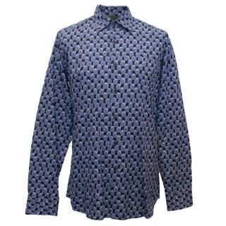 Prada Men's Blue Pattern Shirt