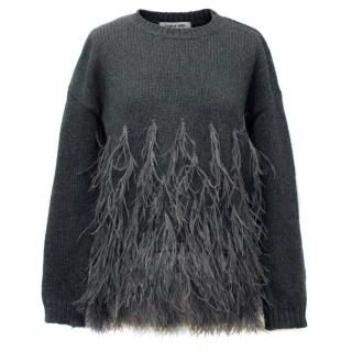 Elizabeth and James Grey Knit Jumper with Feathers