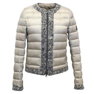 Hogan Beige Lightweight Puffer Jacket with Tweed Details