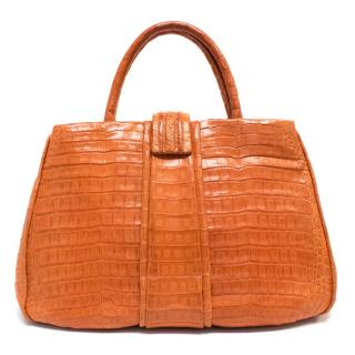 Nancy Gonzalez Orange Crocodile Medium Tote