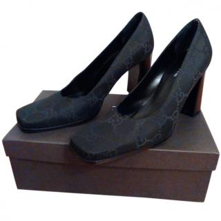 Gucci Canvas logo pump shoes