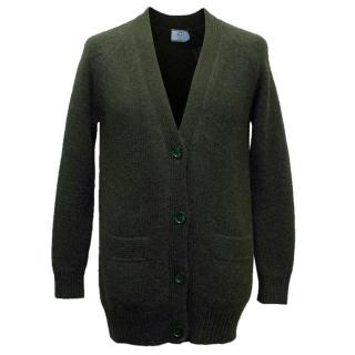 Prada Men's Bottle Green Alpaca Knit Cardigan