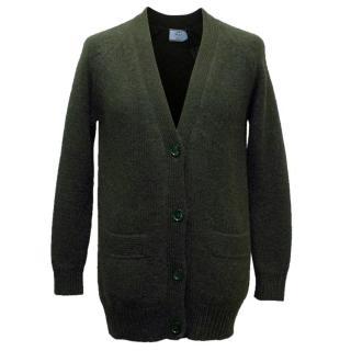 Prada Men's Bottle Green Alpaca Knit Cardigan