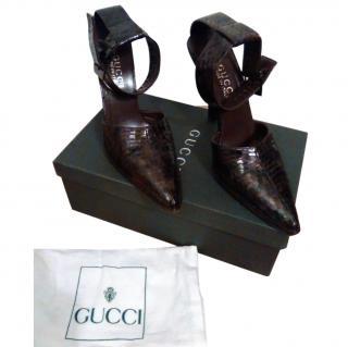 Gucci Snakeskin Decollete Stiletto Heels