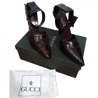 Gucci Snakeskin Decollete Stiletto Heels