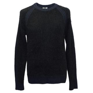 Kenzo Men's Black and Navy Blue Angora Jumper