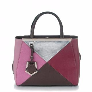 Fendi 2Jours small color-block textured-leather shopper