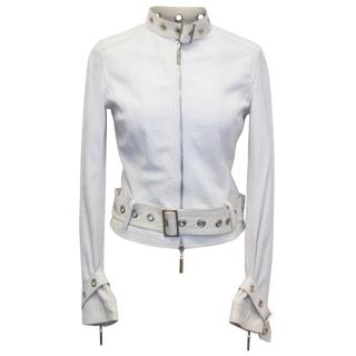 Versace Jeans Couture Cream Leather Jacket