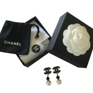 Chanel Dark Blue And Pearl Earrings