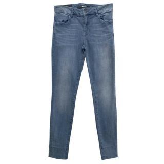 J Brand Blue Denim Anja Cuff Cropped Jeans