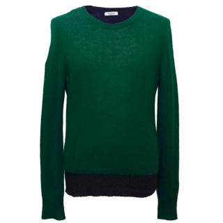 Valentino Men's Botttle Green and Navy Cashmere Jumper