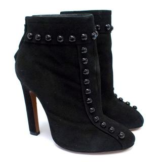 Alaia Black Suede Studded Ankle Boots