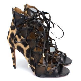 Aquazzura Pony Hair Leopard Print Heels