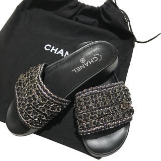 Chanel Tropiconic Chain Slides Mules