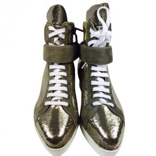 Miu Miu Gold Sequin Wedge Sneakers, UK size 5