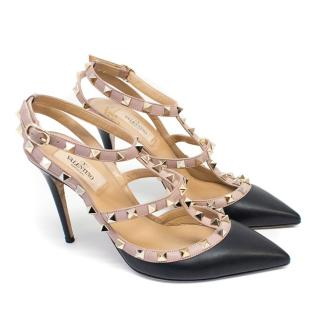 Valentino Black Rockstud Leather Slingback Pumps