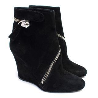 Alexander McQueen Black Suede Wedge Boots