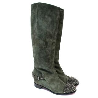 Christian Louboutin Green Suede Studded Tall Boots