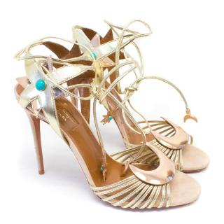 Poppy Delevingne for Aquazzura Gold Leather Sandals