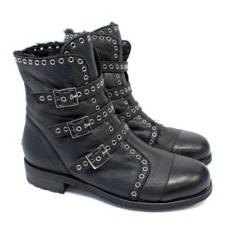Jimmy Choo Black Leather Biker Boots with Shearling Lining