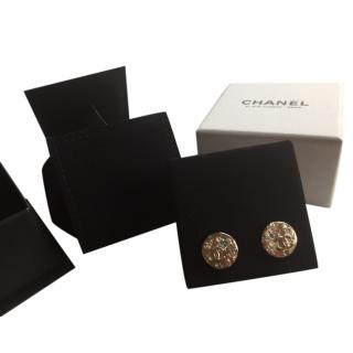 Chanel jewelled disc stud earrings