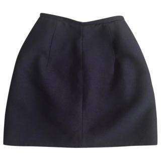 Carven navy blue wool blend boucle mini skirt
