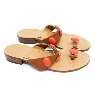 Amedeo Canfora Tan Leather Sandals with Coral Stones