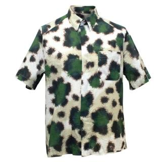 Kenzo Men's Green and Brown Print Short Sleeved Shirt