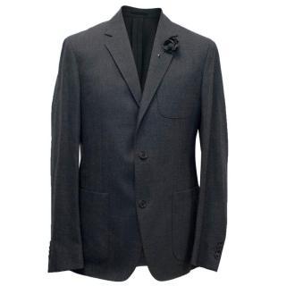 Lanvin Men's Dark Grey Blazer with Flower Pin