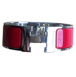 Hermes Red Enamel Clic Clac Cuff