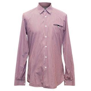 Prada Men's Red and Blue Striped Cotton Shirt